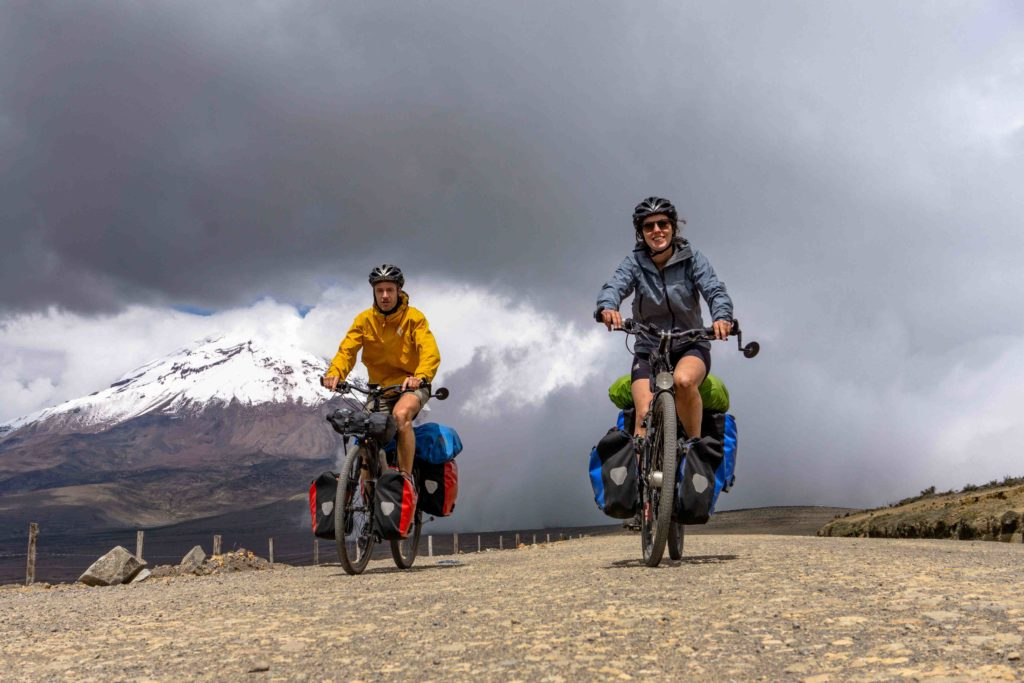 cycling on a touring bicycle in equador