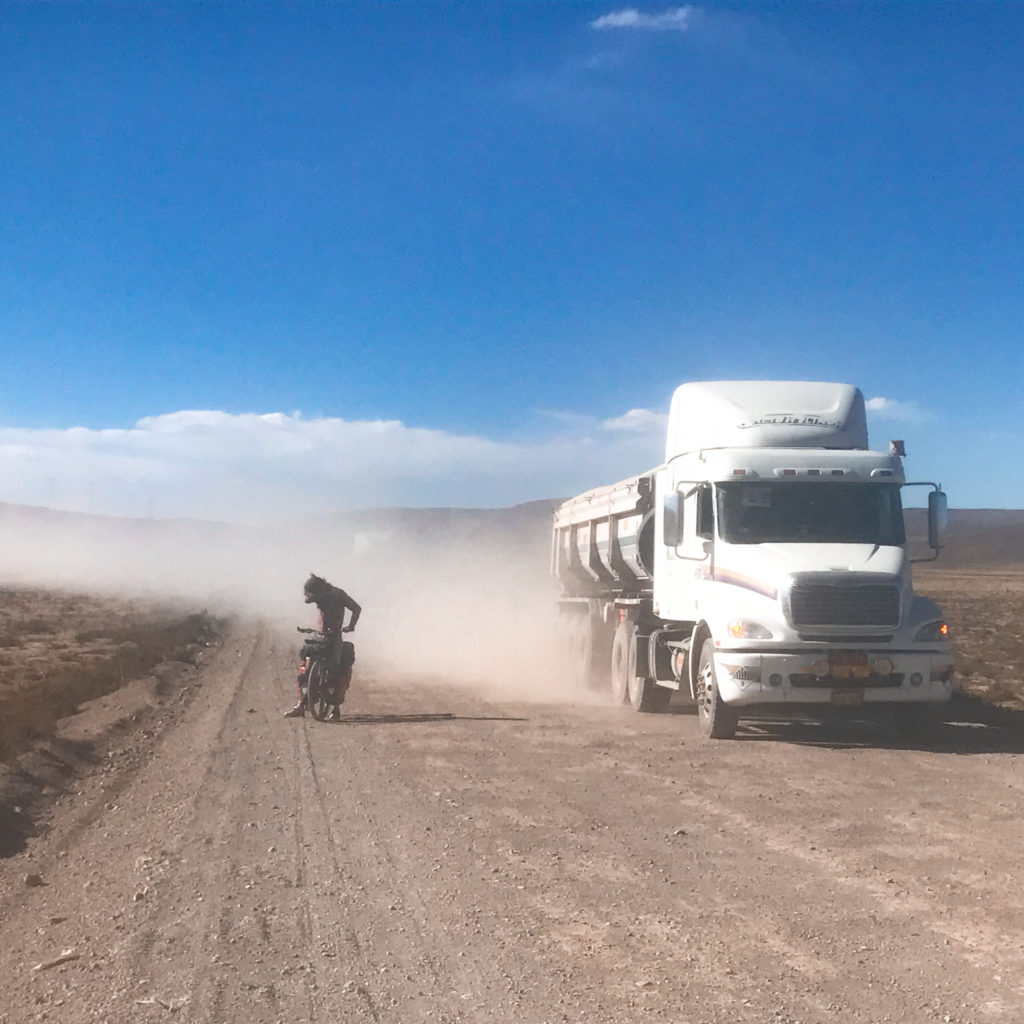 cones and canyons route: dust and trucks